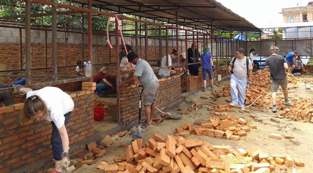 Volunteers are building classrooms during the Building Project in Nepal